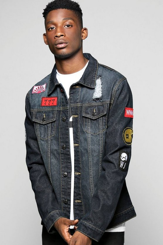 Badged Sleeve Denim Jacket