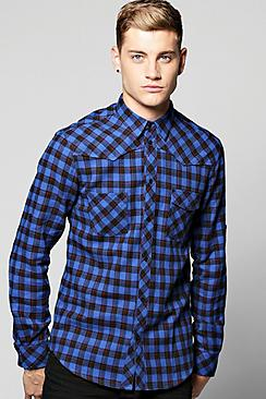 Checked Button Through Shirt