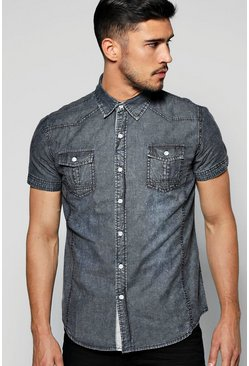 Washed Short Sleeve Denim Shirt