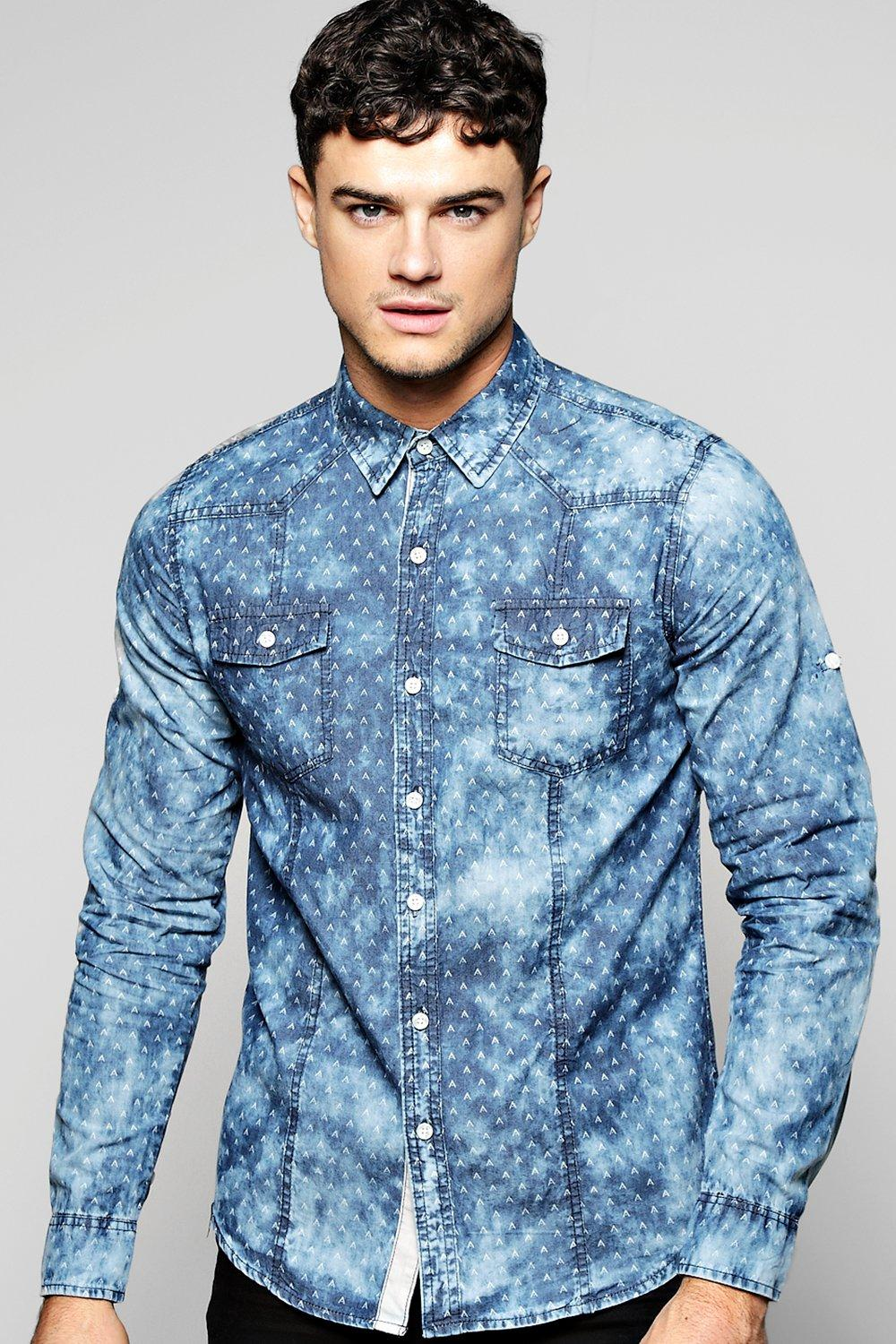 Printed Long Sleeve Denim Shirt