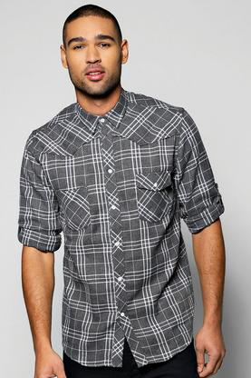 3/4 Roll Up Sleeved Button Through Shirt