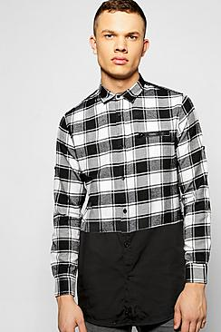 Longline Checked Buffalo Spliced Shirt