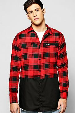 Longline Checked Buffalo Spliced Shirt With Chest Pocket