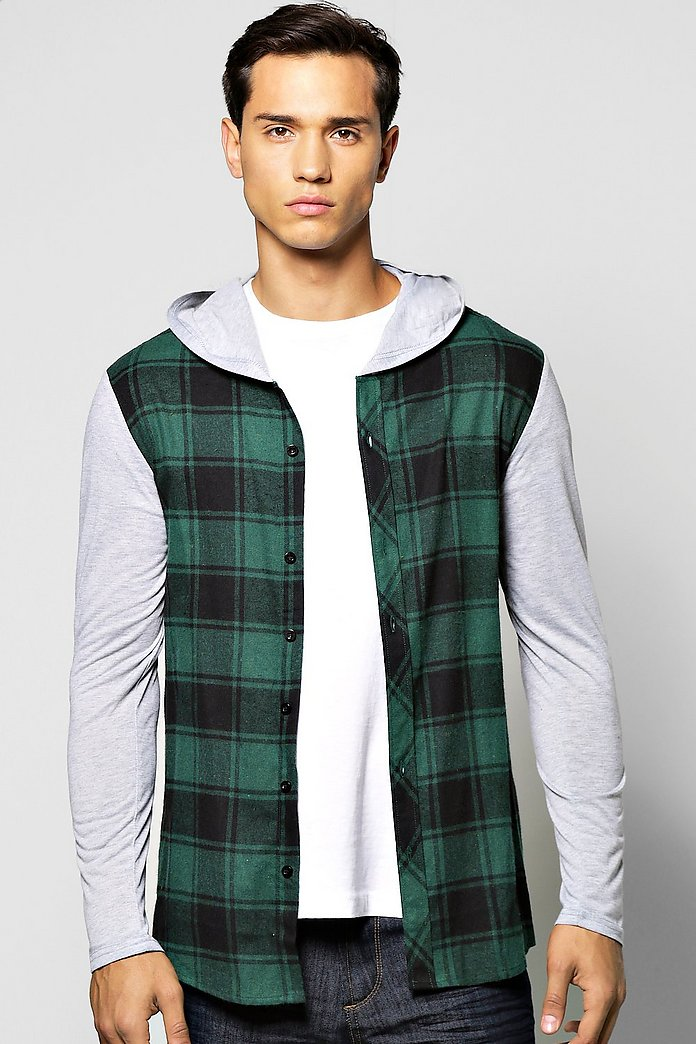 Checked Shirt With Jersey Sleeves & Jersey Hood