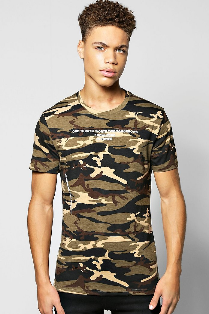 Camo Tee with Contrast Text Print