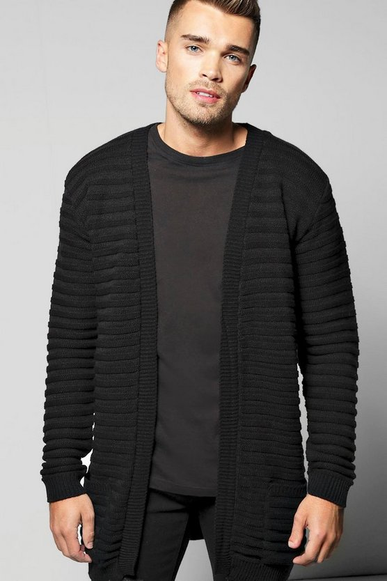 Ribbed Longline Cardigan with Pockets