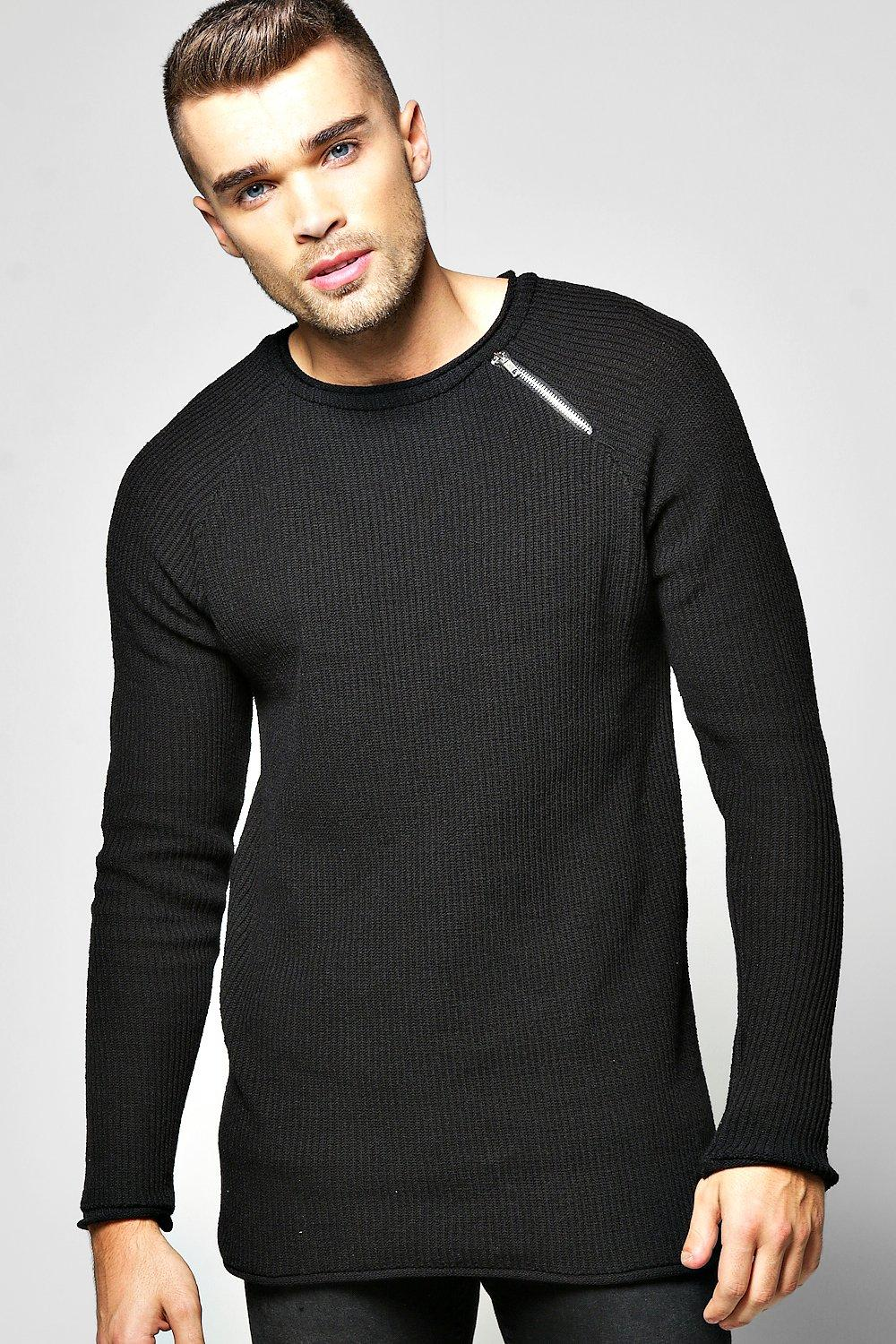 Assymetric Zip Front Neckline Knit Sweater
