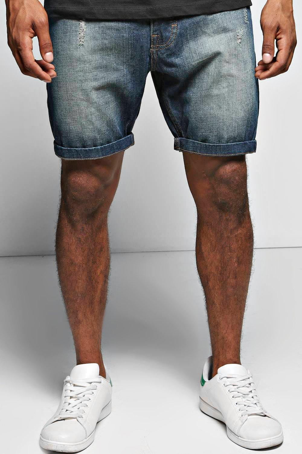 Sand Blasted Abrased Denim Shorts