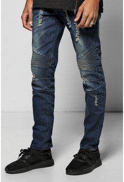 Skinny Stretch Rip & Repair Biker Jeans