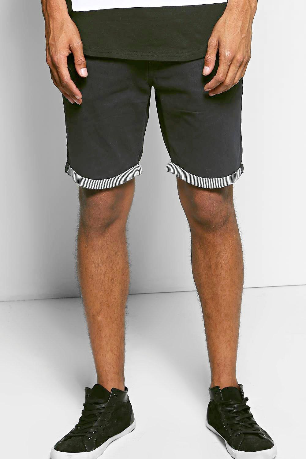 Cotton Twill Striped Turn Up Short