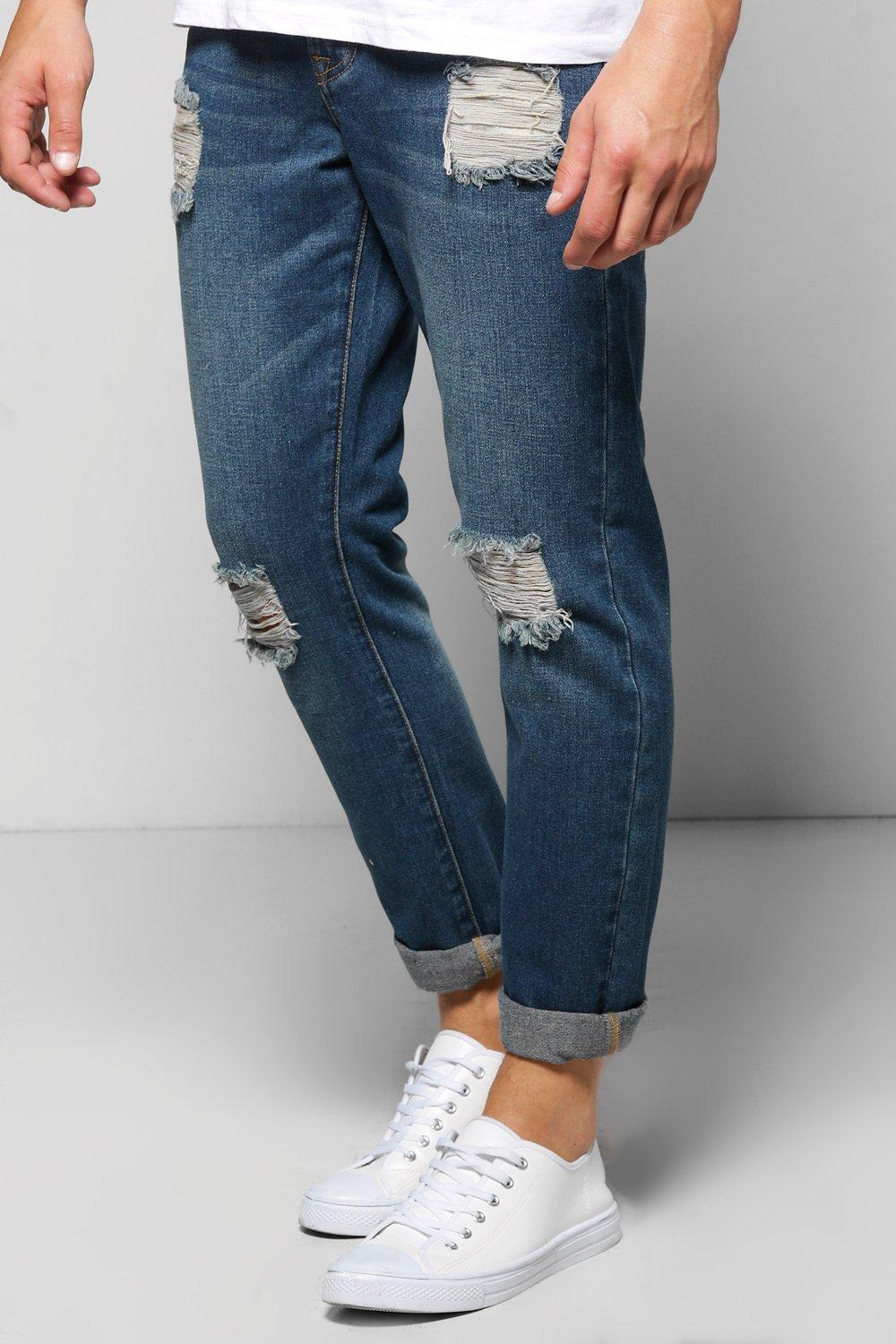 Slim Fit Ripped Denim Jeans