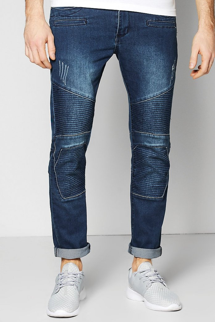 Skinny Biker Jeans With Stitch Details