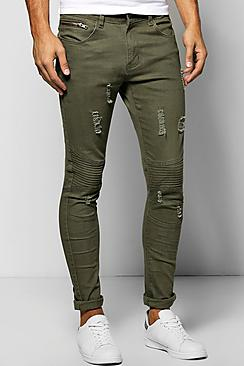 Distressed Super Skinny Biker Jeans With Pocket Zip