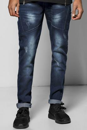 Skinny Fit Panel Detail Jeans