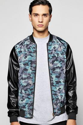 Camo Bomber With PU Sleeves