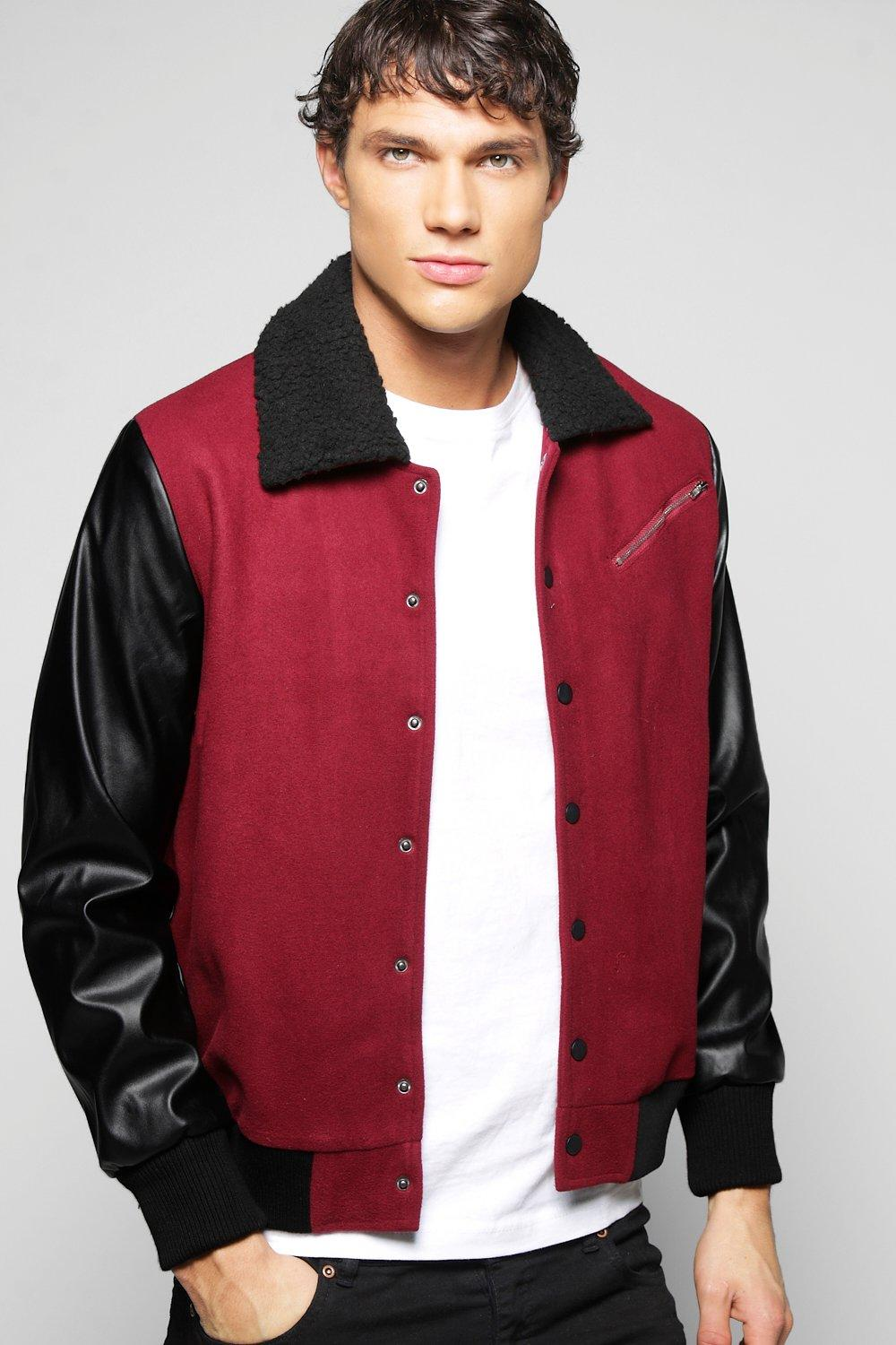 Men's Vintage Style Coats and Jackets Borg Collar Harrington With PU Sleeve wine $36.00 AT vintagedancer.com