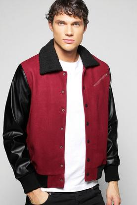 Qunicy Borg Collar Harrington With PU Sleeve