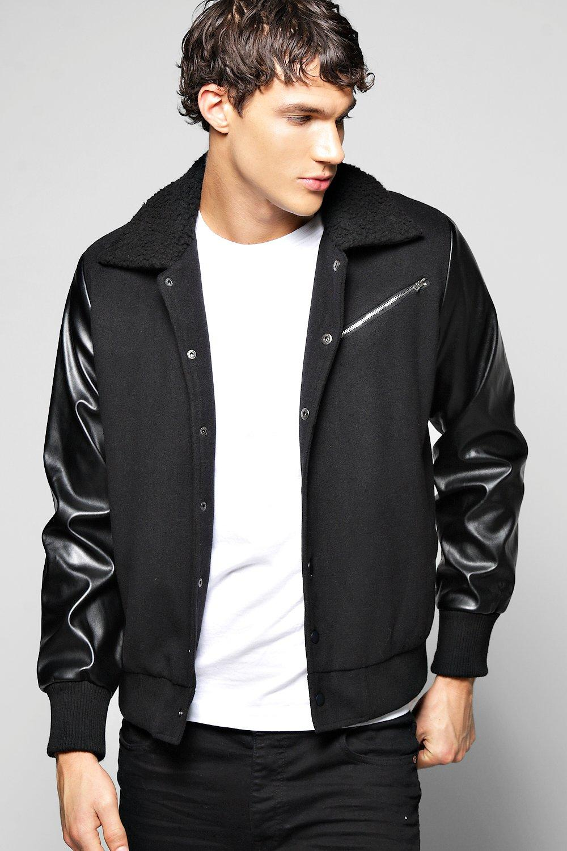 Men's Vintage Style Coats and Jackets Borg Collar Harrington With PU Sleeve black $60.00 AT vintagedancer.com