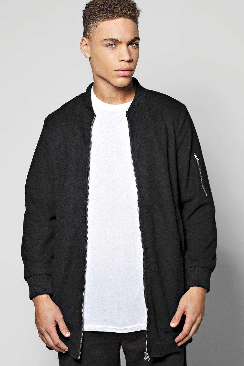 Longline Coat With MA1 Shoulder Zip