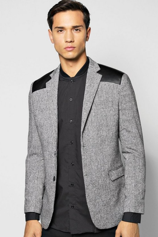 Slim Fit PU Patch Tweed Blazer