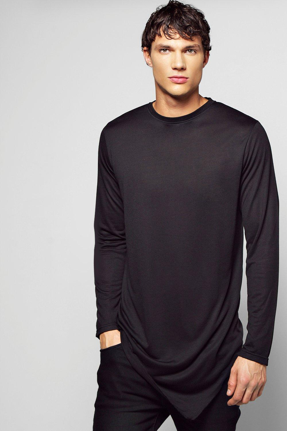 Long Sleeve Longline Asymmetric T Shirt