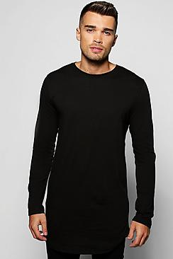Long Sleeve Longline T Shirt with Scoop Hem