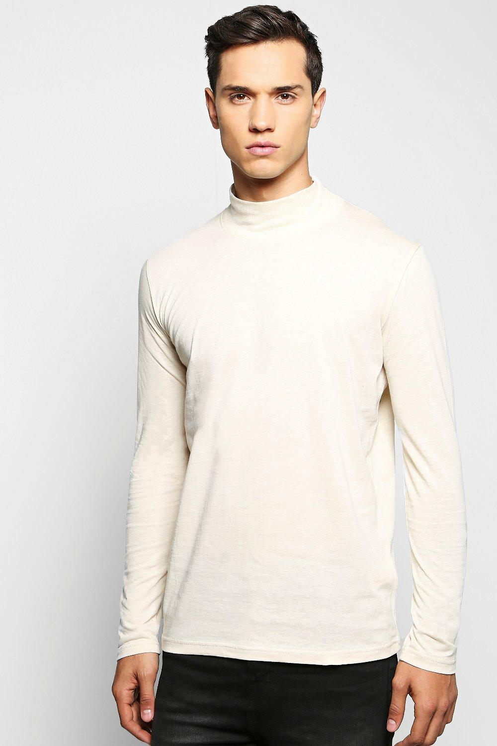 Boohoo mens long sleeve high neck t shirt for High neck tee shirts