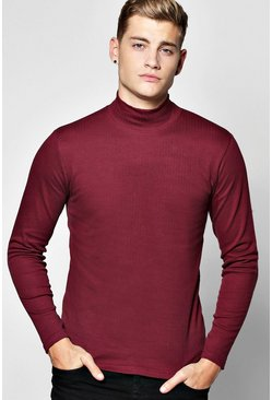 Long Sleeve Muscle Fit Ribbed High Neck T Shirt