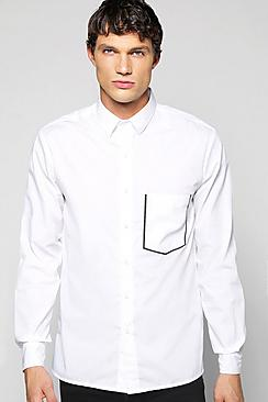 Slim Fit Taped Pocket Shirt