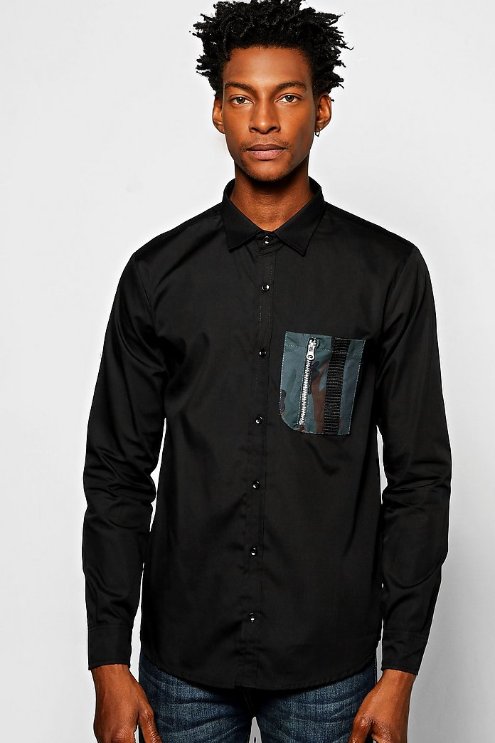 Long Sleeve Camo Pocket Shirt