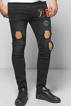 Skinny Badged Washed Ripped Jeans
