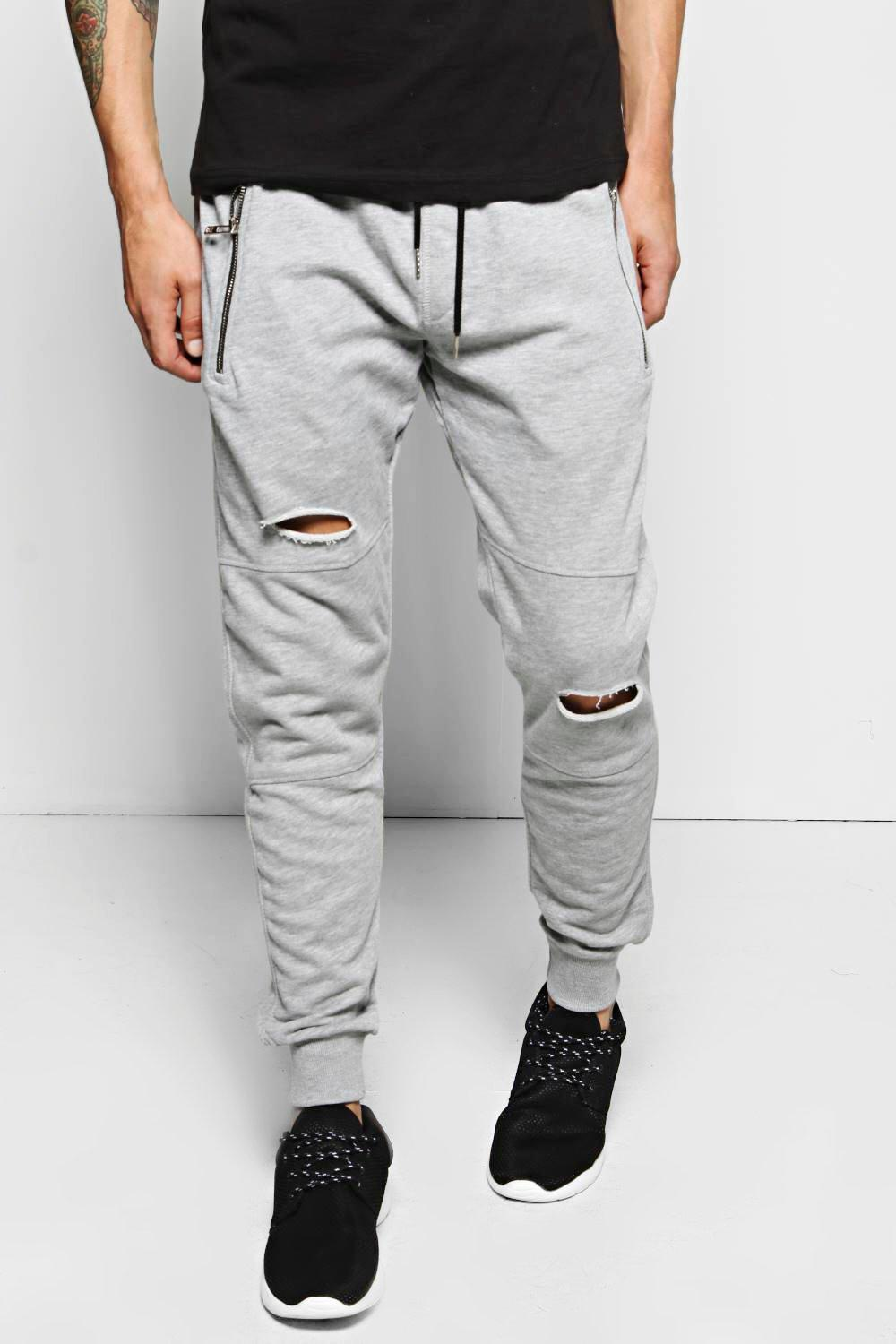 Skinny Fit Distressed Panel Joggers