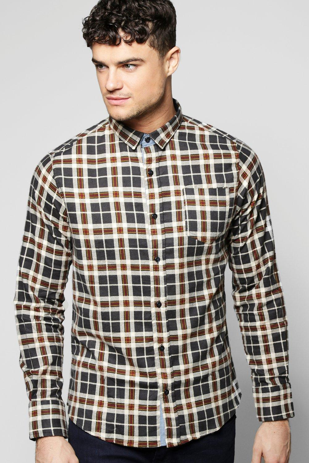 Brushed Check Long Sleeve Shirt With Cord Cuff
