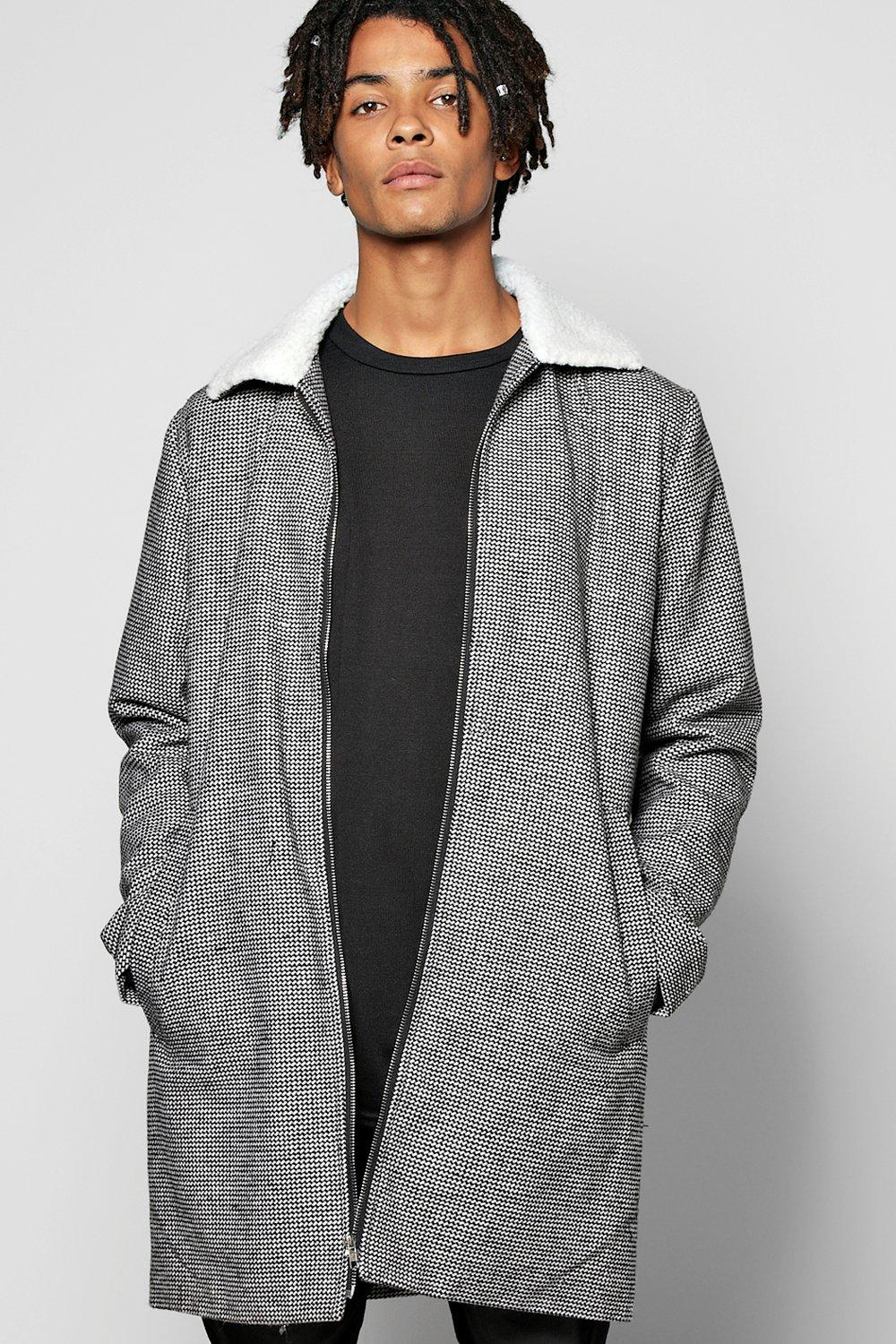 Borg Collar Longline Harrington Coat