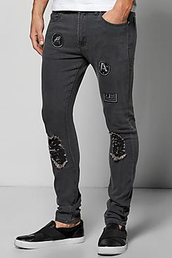 Skinny Fit Ripped Jeans With Badges