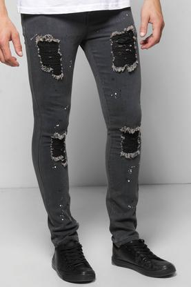 Super Stretch Skinny Ripped Jeans