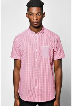 Short Sleeve Gingham Check Shirt