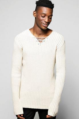 Ribbed Sweater With Lace Up Front