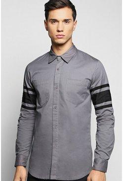 Sleeve Striped Cotton Twill Shirt