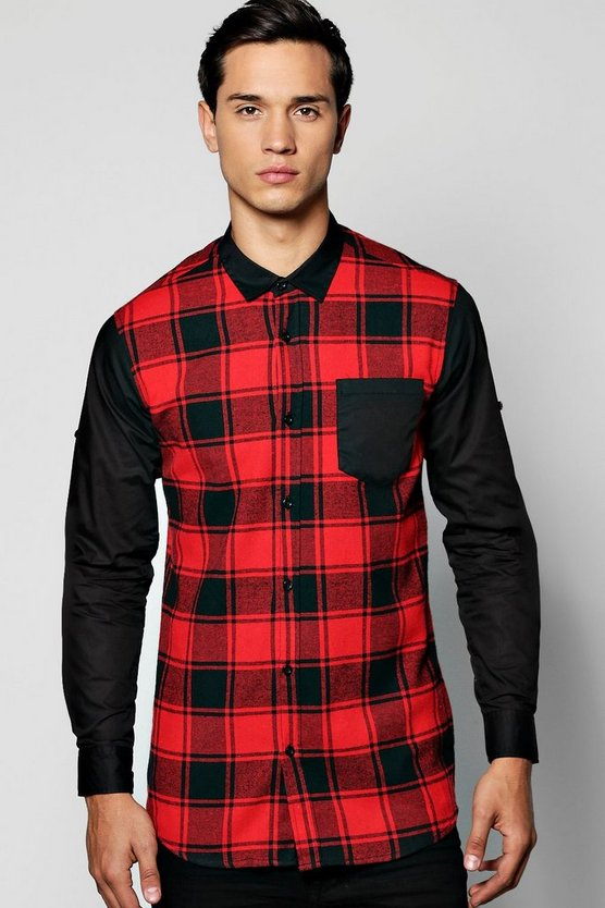 Brushed Check Colour Blocked Shirt