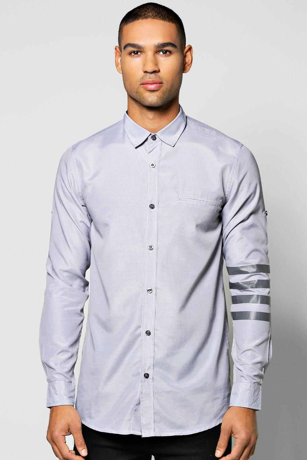 Fine Stripe Shirt With Printed Sleeve Stripe
