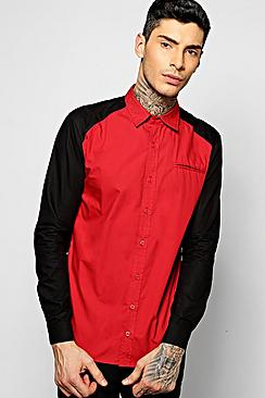 Cut & Sew Spliced Shirt