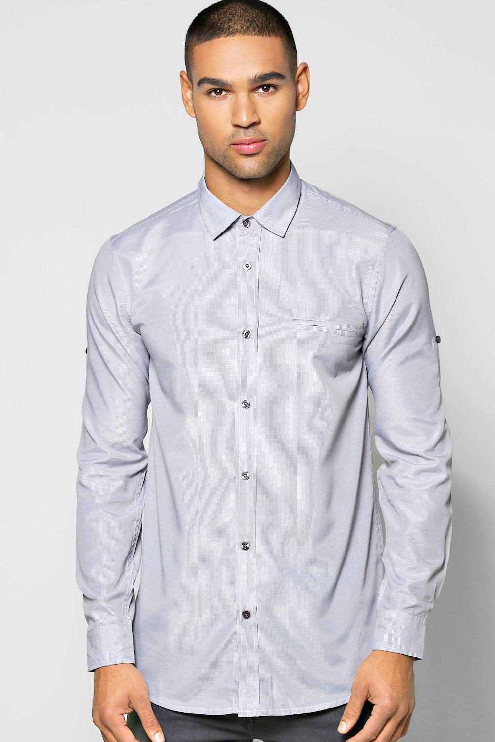 Fine Stripe Button Shirt With Pocket