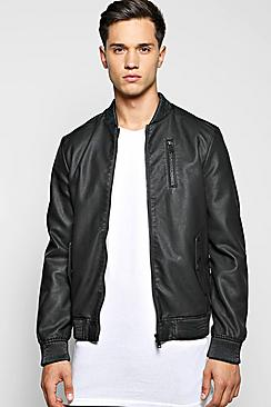 Washed PU Chest Pocket Jacket