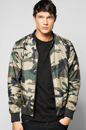 Nylon Camo Bomber With Zip Pockets