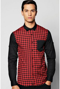 Long Sleeve Buffalo Colour Blocked Shirt