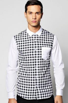Long Sleeve Buffalo Colour Blocked Gingham Check Shirt