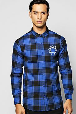 Brushed Check Shirt with Pocket and Back Print