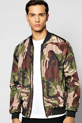 All Over Camo Double Zip Bomber Jacket