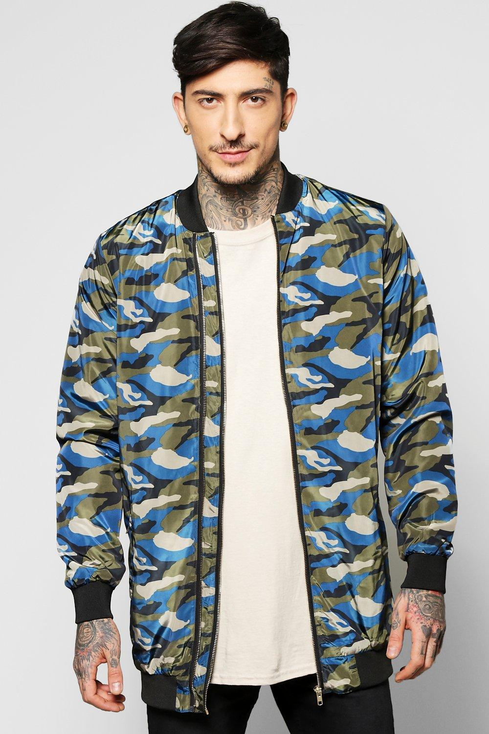 Image of All Over Camo Multi Zip Jacket - cobalt
